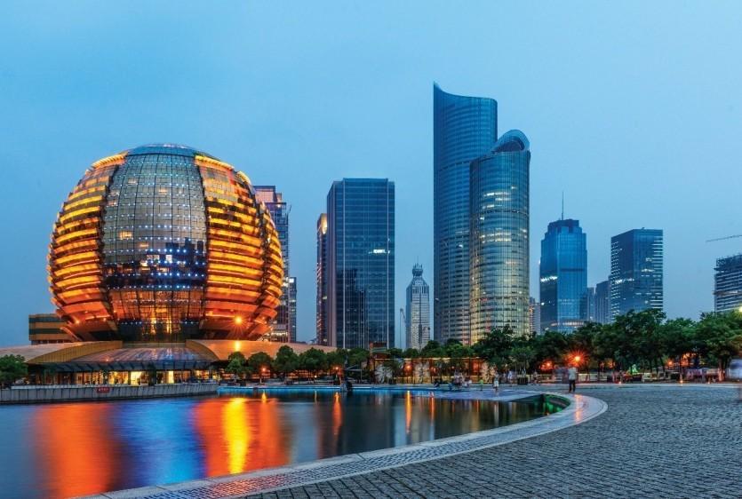 Hangzhou bei Nacht China Sehenswürdigkeiten