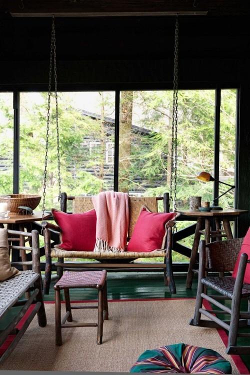 Herbstdeko basteln warme Herbstfarben dominieren auf der Veranda schaffen gute Laune