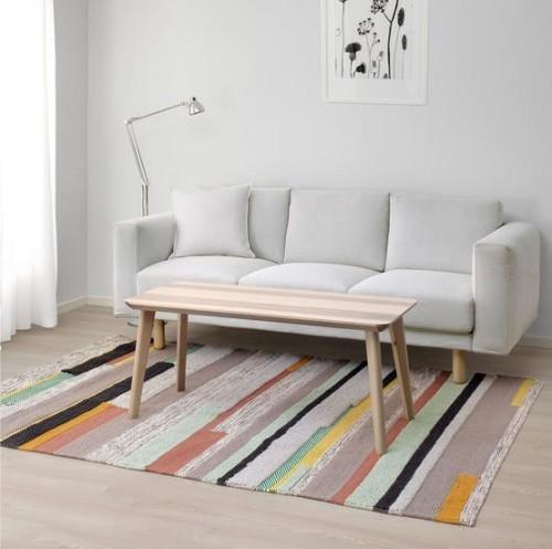 Ikea Katalog 2019 Brönden rug handgewebter bunt gestreifter Teppich