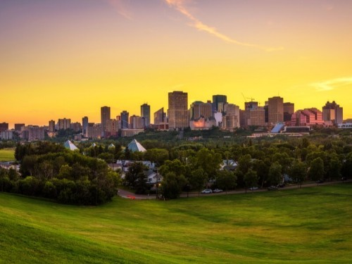 Sonnenuntergang über Edmonton Alberta Kanada