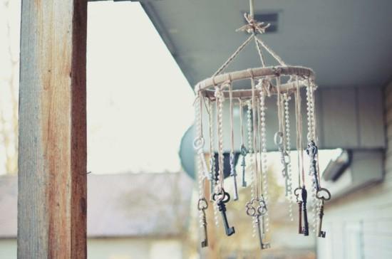 alte schlüssel windspiel basteln idee