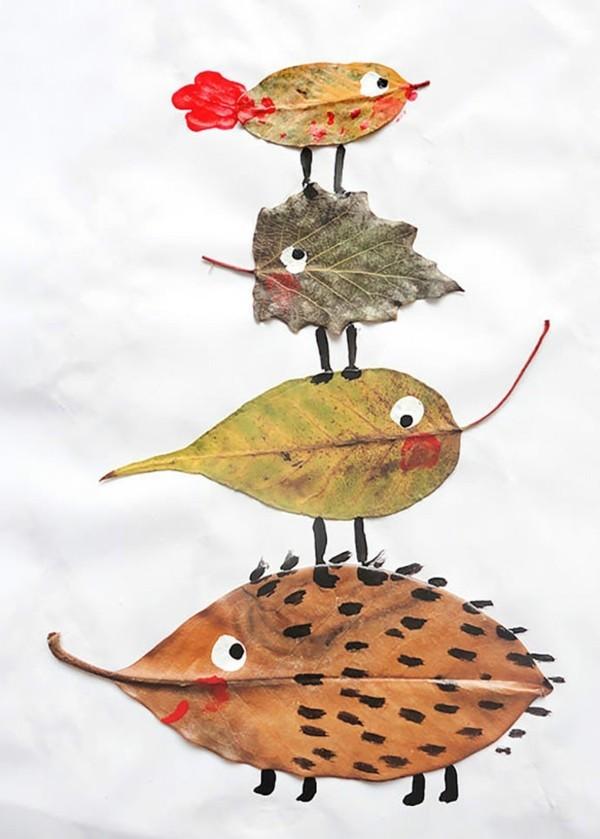 basteln mit herbstblättern für kinder