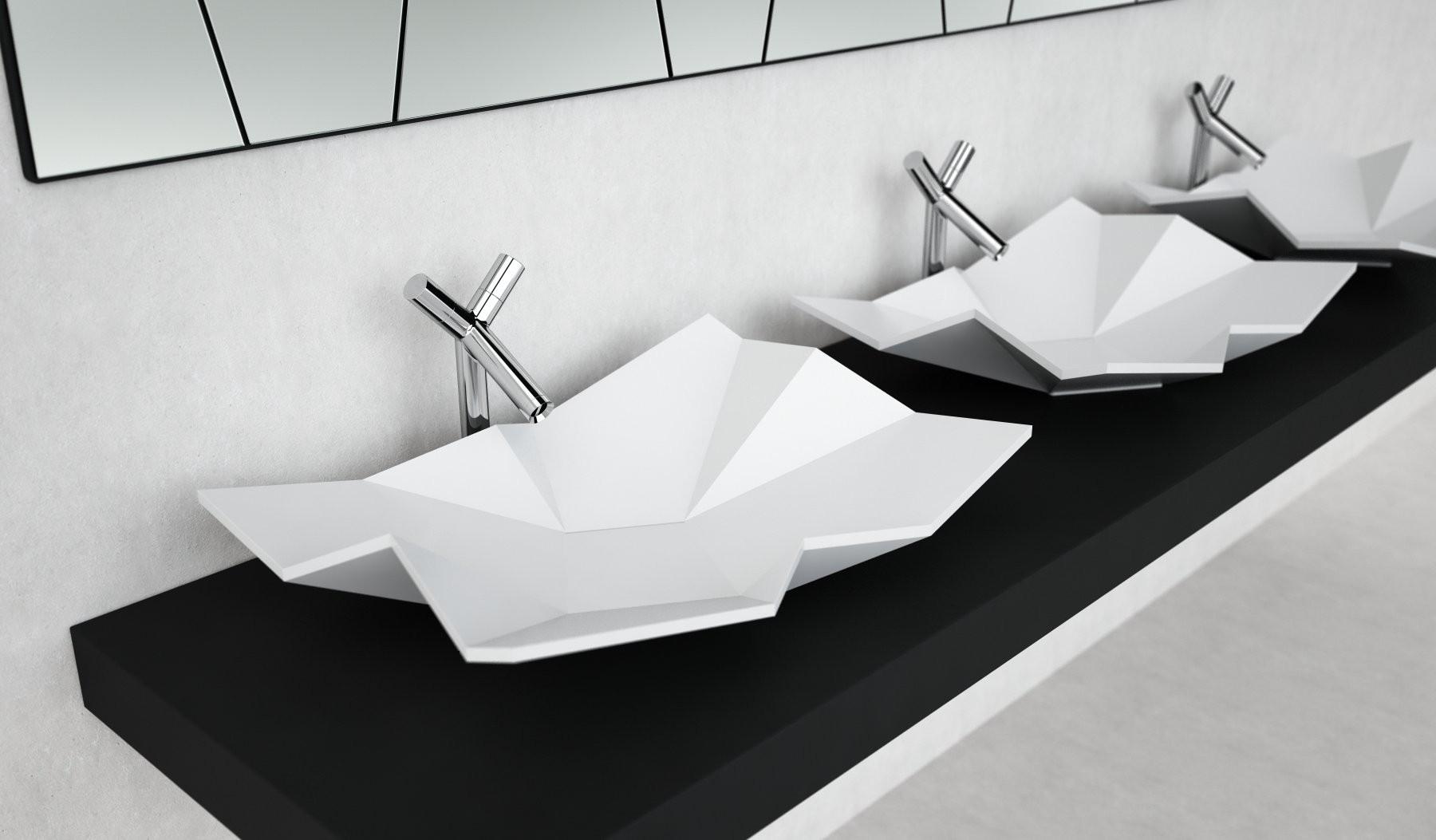 design waschbecken weiß auf schwarz