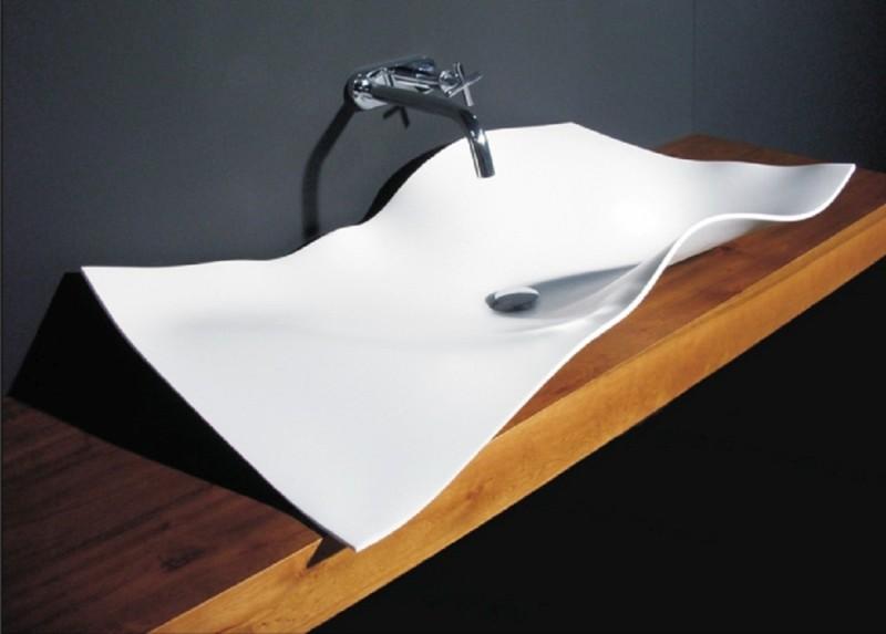 design waschbecken wie ein blatt papier
