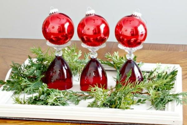 diy ideen mit weingläsern zu weihnachten