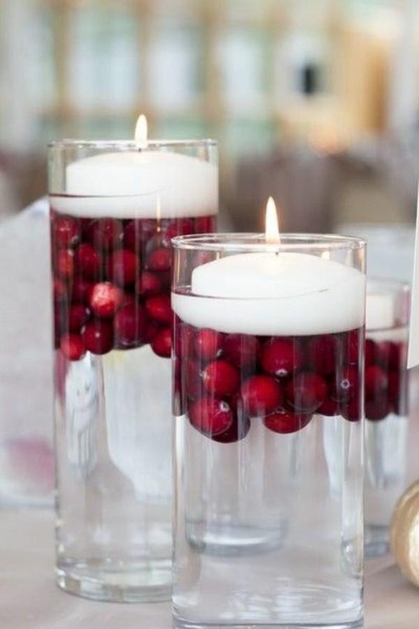 günstige tischdeko cranberries schwimmkerzen