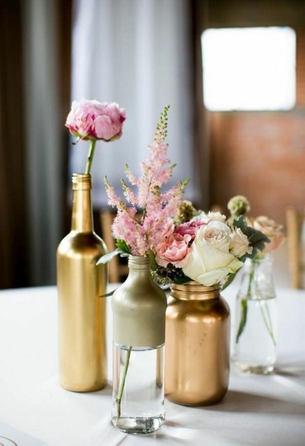 günstige tischdeko gold kupfer glasflaschen vasen