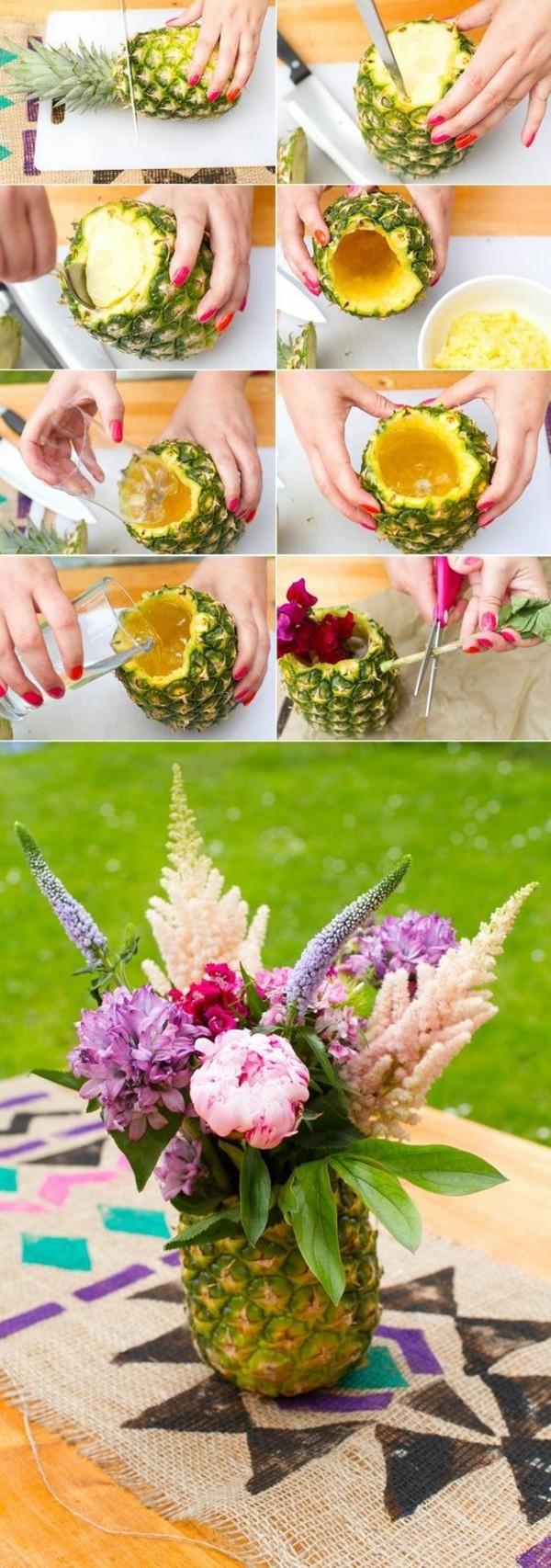 günstige tischdeko ideen blumen im ananas