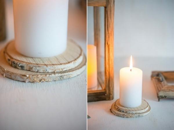 günstige tischdeko kerzen vasen baumscheiben