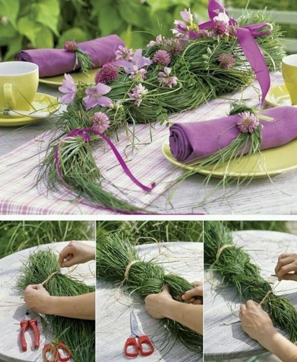 günstige tischdeko mit gras im sommer