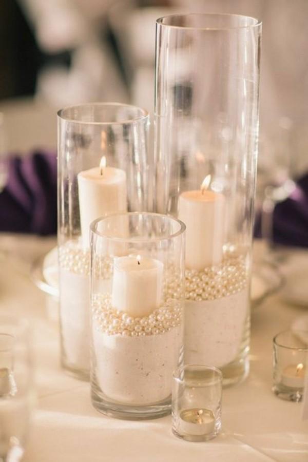 günstige tischdeko mit sand und perlen