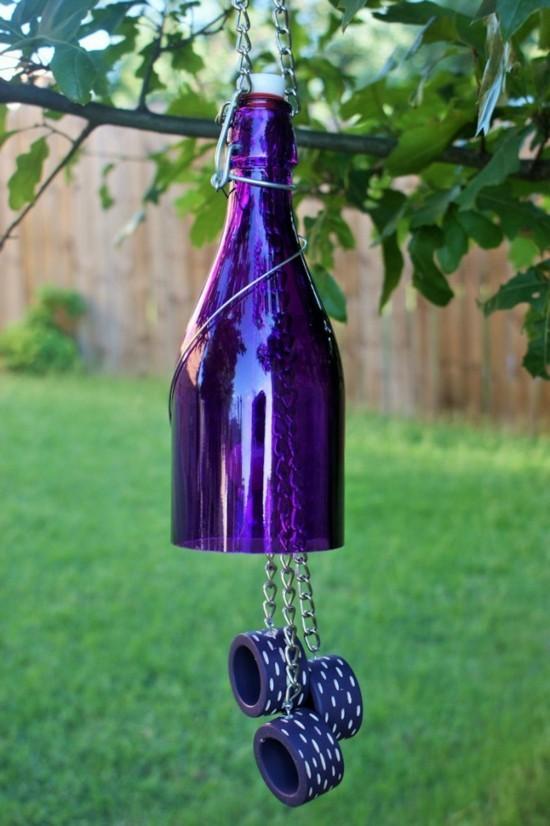glasflasche windspiel basteln