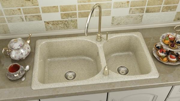 granit küchenspüle rustikal doppeltes waschbecken