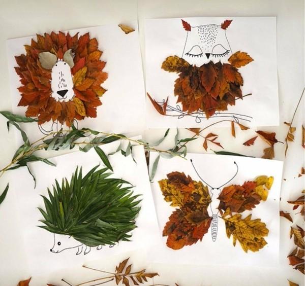 herbstdeko basteln mit herbstblättern