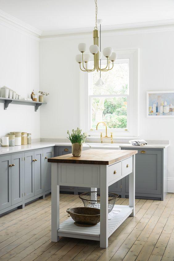 küchenarbeitsplatte weiße und graue oberflächen ideen