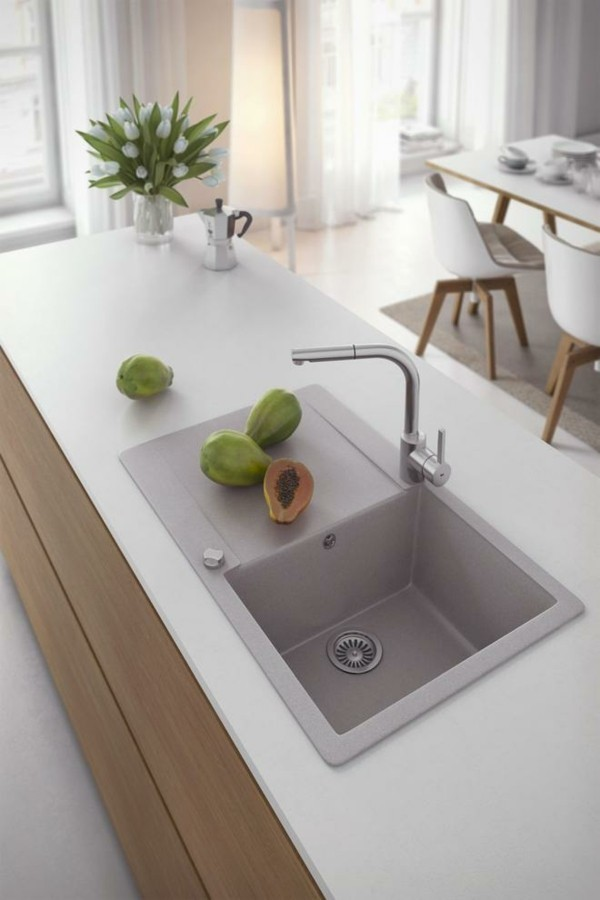 küchenspüle aus granit kücheninsel