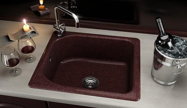 küchenspüle granit weinrot
