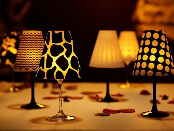 tischlampen basteln diy ideen mit weingläsern