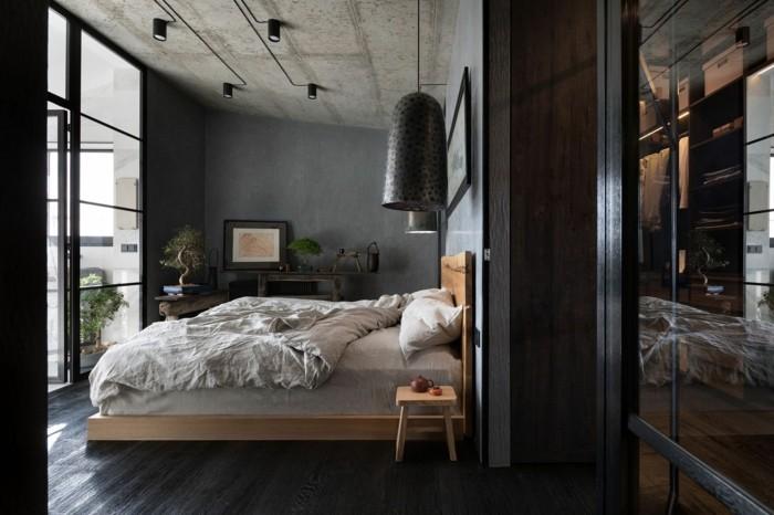 wabi sabi schlafzimmer mit industriellem touch
