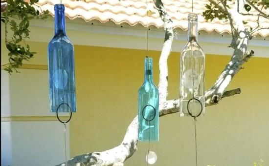 windspiel basteln aus glasflaschen