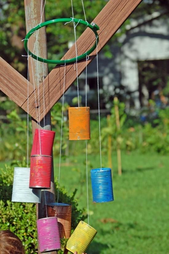 windspiel basteln mit blechdosen