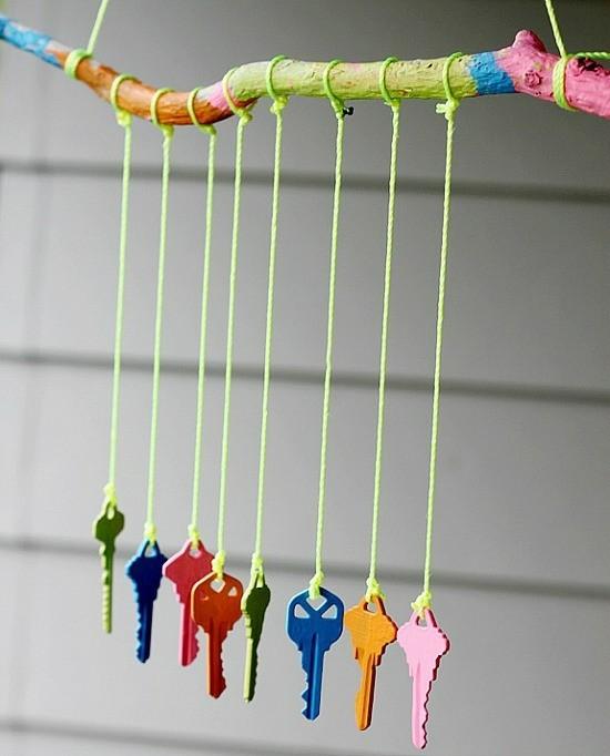 windspiel basteln schlüssel