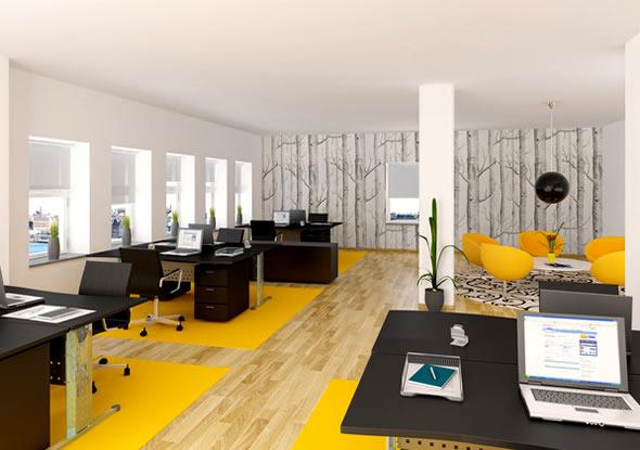 zonierung mit gelben teppichen büroeinrichtung