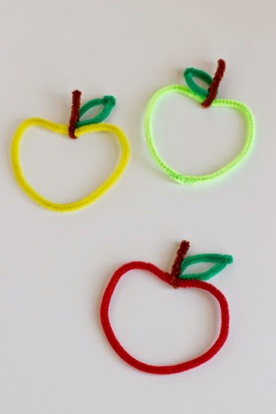 äpfel basteln mit pfeifenputzer