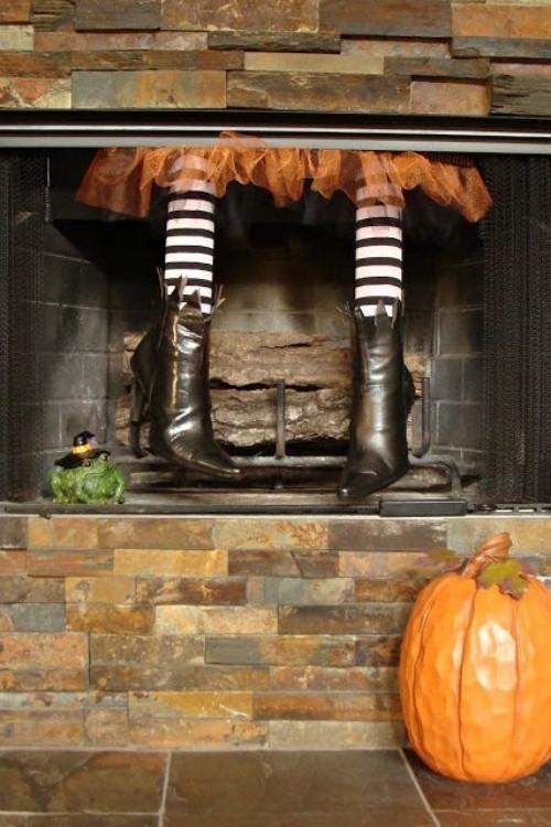 Deko Ideen zu Halloween Kamin dekorieren