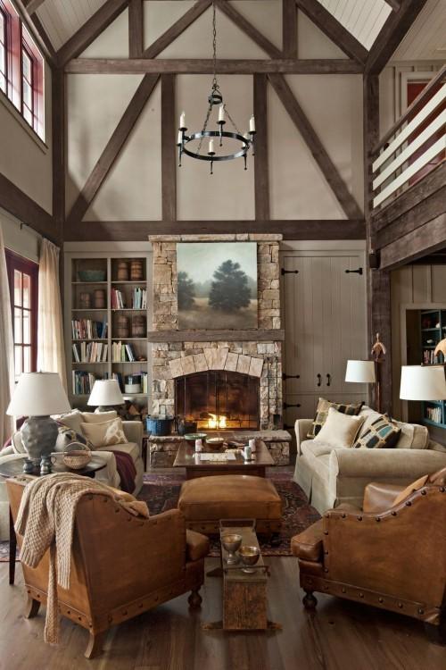 Freigelegte Balken viel Holz bequeme Sitzgarnitur sehr gemütliches Wohnzimmer im Landhausstil