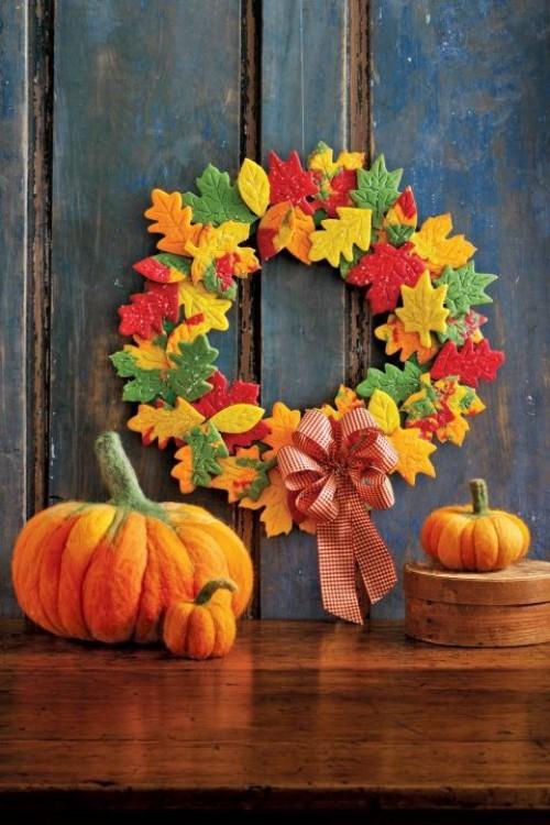 Herbstkranz basteln Kürbisse in Orange den Herbst willkommen heißen tolle Deko