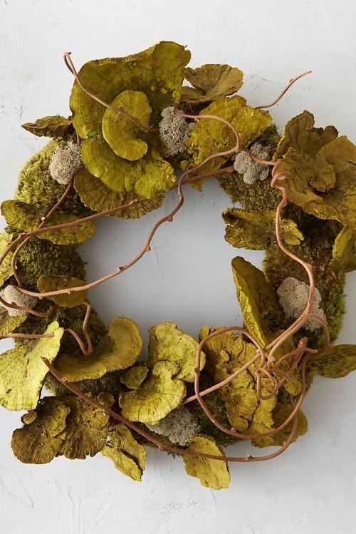 Herbstkranz basteln grün aus Pilze Moos dünne Zweige
