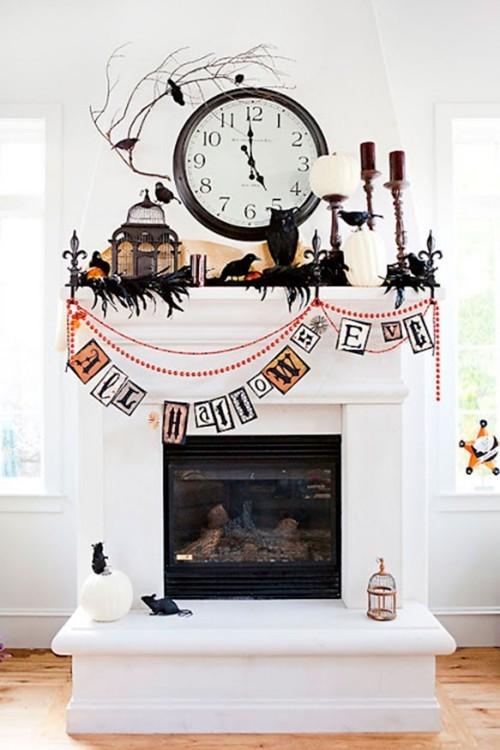 Kamin schmücken Deko Ideen zu Halloween