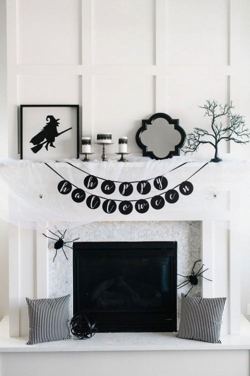 Kamin schmücken Deko Ideen zu Halloween kleine Deko Elemente Angst einjagen.