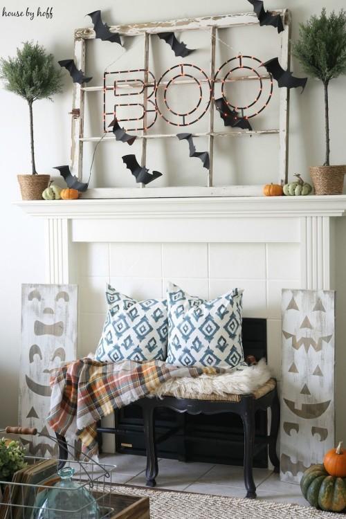 Kaminsims dekorieren Boo- Effekt erzielen Deko Ideen zu Halloween