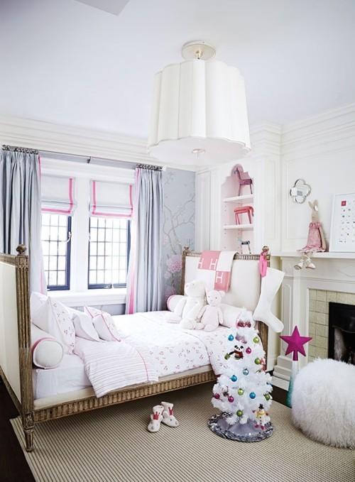 Raumgestaltung Ideen für Kinderzimmer in Weiß gestaltet rosa violette Blickfänge
