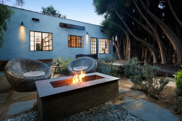 Rechteckige moderne Feuerstelle Sessel aus Metallnetz interessante Outdoor-Gestaltung