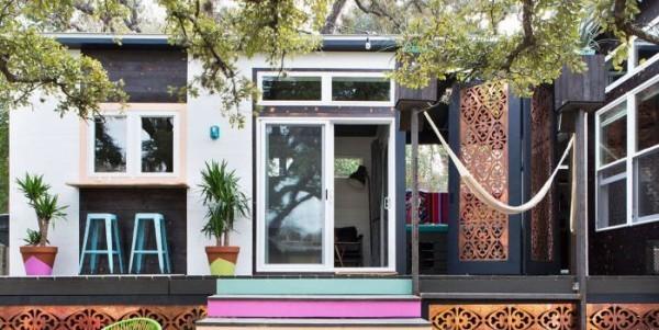 Tiny Houses modernes kleines Haus Veranda Glastüren