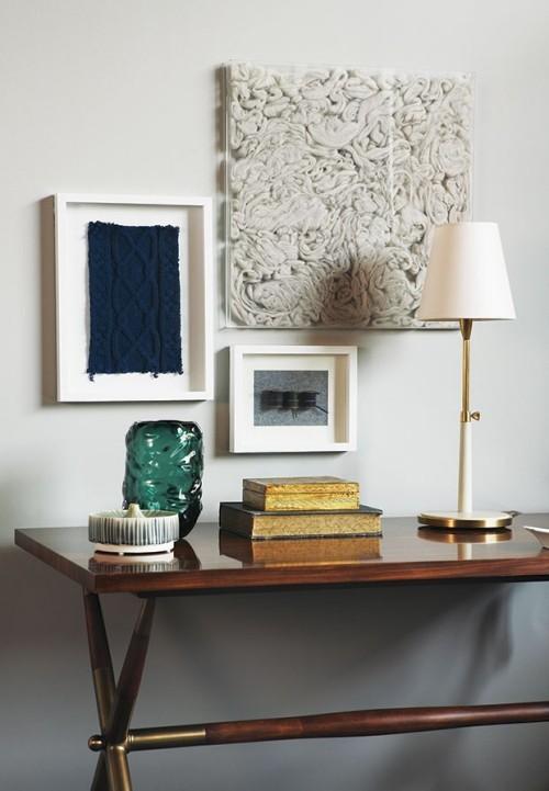 Wanddeko abstrakte Bilder in weißen Rahmen Raumgestaltung Ideen
