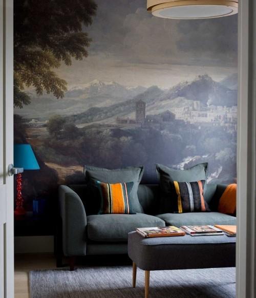 Wohnzimmer Wandtapete Sofa Teppich