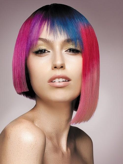 asymmetrische Frisuren bunt rosa