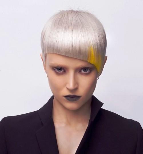 asymmetrische Frisuren gelb