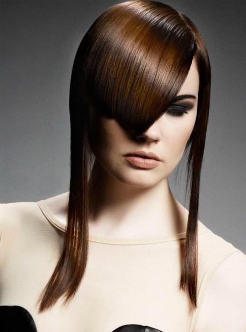 asymmetrische Frisuren lange seiten