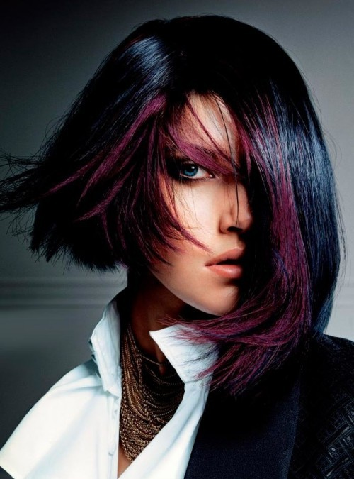 asymmetrische Frisuren lila