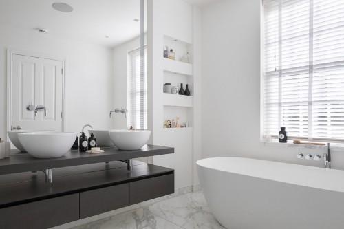 badezimmergestaltung gestaltung in gra und weiß