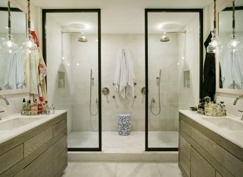 badezimmergstaltung braun und schwarz