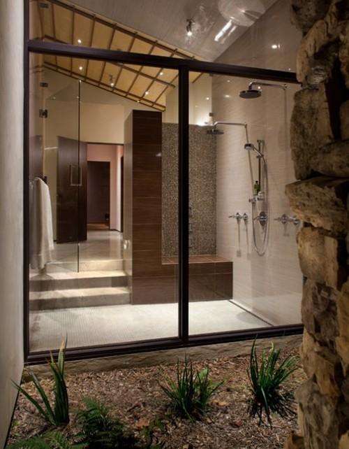 badezimmergstaltung steinboden und pflanzen