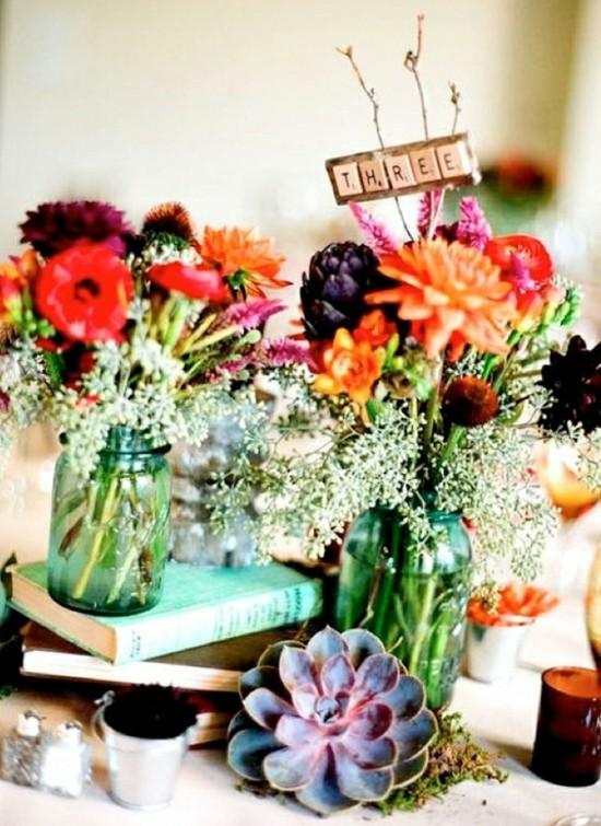 einmachgläser deko herbstblumen