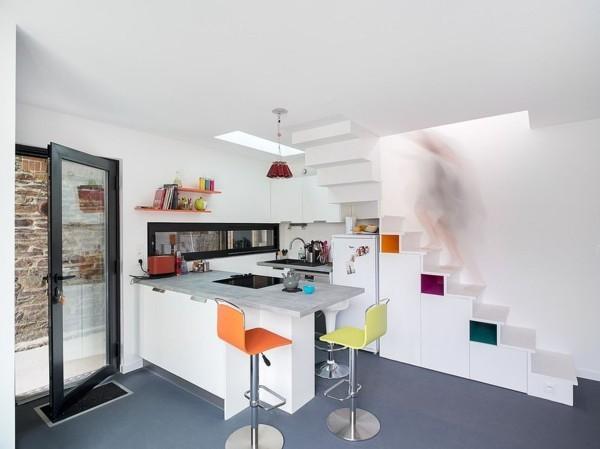 ganz kleine küche einrichten weiße schränke scandy style
