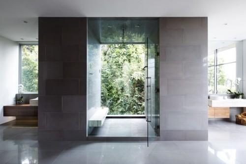 grüne aussicht badezimmergstaltung